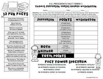 US Presidents Interactive Fact Towers Activity