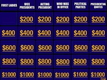 Presidents Jeopardy