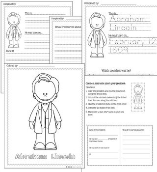 US Presidents (NO PREP) PreK-1st Grade pages - Volume 1