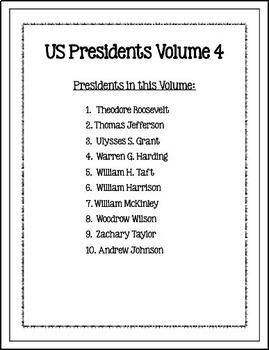 US Presidents (NO PREP) PreK-1st Grade pages - Volume 4