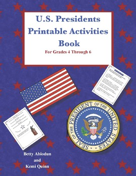 US Presidents Printable Activities Book Set