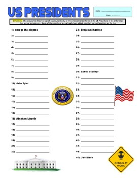 US Presidents Puzzle Page (Wordsearch and Criss-Cross)