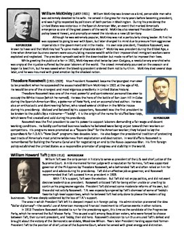 History U.S. - US Presidents Short Readings w/ Questions - Cleveland to Clinton