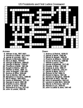 US Presidents and First Ladies Crossword and Word Search with KEYS