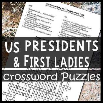 US Presidents and their First Ladies Crossword Puzzles Worksheets