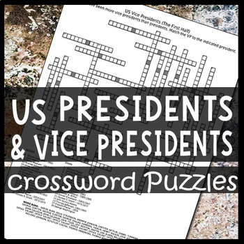 US Presidents and their Vice Presidents Crossword Puzzle Worksheets