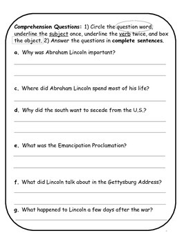 Abraham Lincoln Biographical Article and Activities for ESL (CCSS aligned)