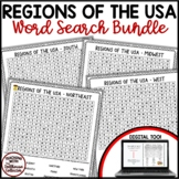 US REGIONS Geography Word Search Puzzle Bundle Print and Digital