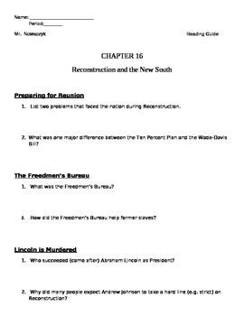 U.S. Reconstruction Study Questions and Key Terms