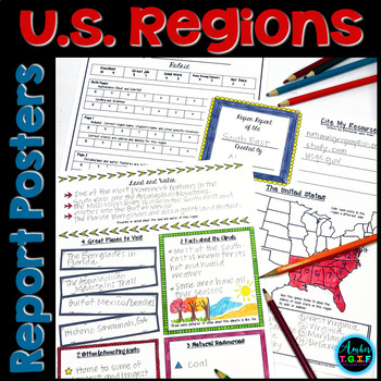 U.S. Region Report (Poster) Template for Intermediate Grades