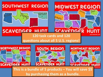 U.S. Regions Scavenger Hunt - Bundle of 5 products