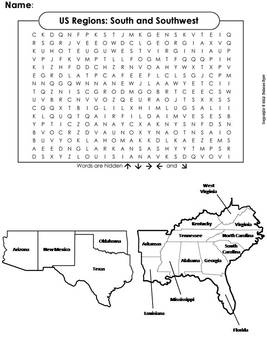 US Regions: South and Southwest Word Search