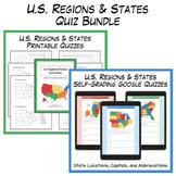 U.S. Regions & States Quiz Bundle   Digital & Printable