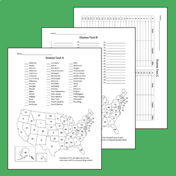 U.S. Regions & States Tests + Clipart Bundle