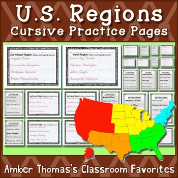 us regions states and capitals cursive practice pages