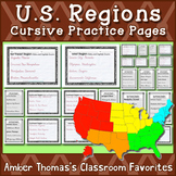U.S. Regions, States and Capitals Cursive Practice Pages