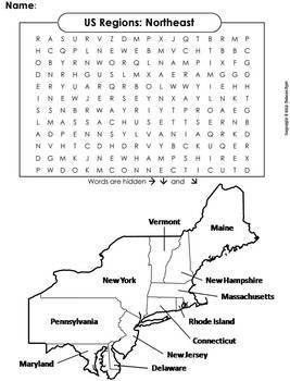 US Regions Unit: Word Searches Bundle