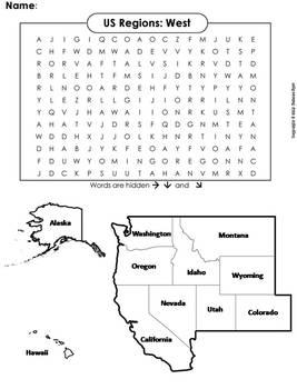 US Regions: West Word Search