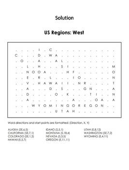 US Regions: West Word Search