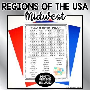US Regions Word Search with Answer Key - MIDWEST US States & Capitals