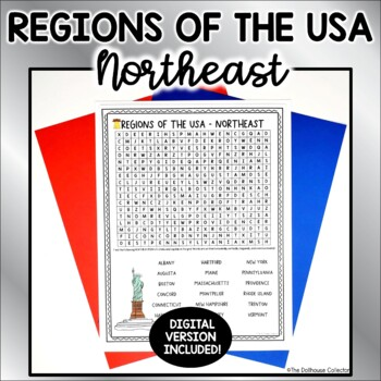 US Regions Word Search with Answer Key - NORTHEAST US States & Capitals