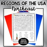 US Regions Word Search with Answer Key - NORTHEAST US Stat