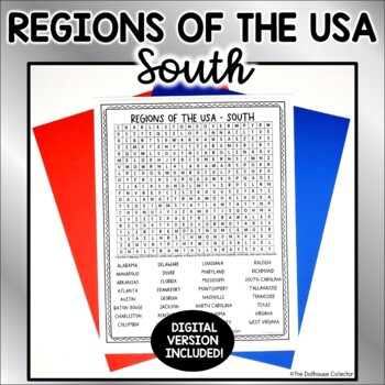 US Regions Word Search with Answer Key - SOUTH US States & Capitals