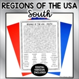 US Regions Word Search with Answer Key - SOUTH US States &