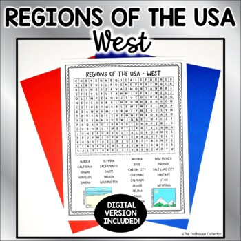 US Regions Word Search with Answer Key - WEST US States & Capitals