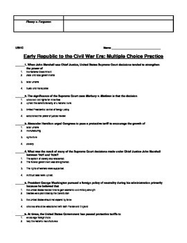 United States Review Sheet # 2 - Government to the Civil War