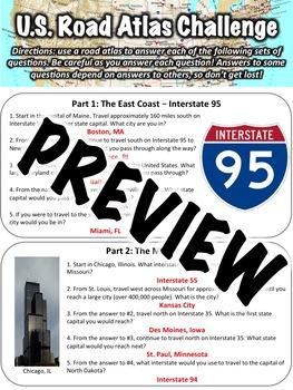 US Road Atlas Worksheet
