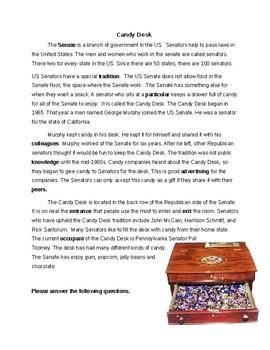US Senate Candy Desk Reading and Vocab