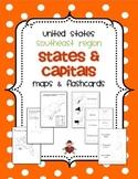 US Southeast Region States & Capitals Maps