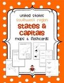 US Southwest Region States & Capitals Maps