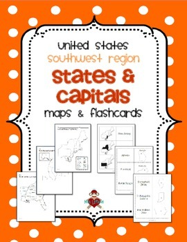 US Southwest Region States & Capitals Maps