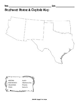 Us Southwest Region States Capitals Maps By Mrslefave Tpt - Map-southwest-region-us