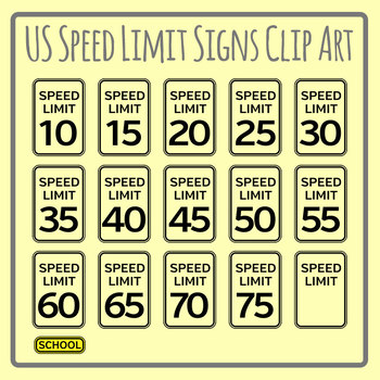 US Speed Limit Signs Clip Art Set for Commercial Use