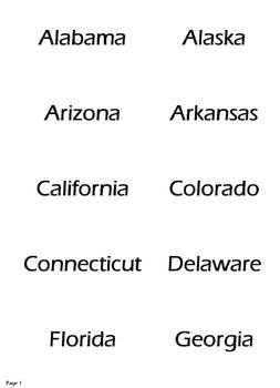 US State Capital Flash Cards - Prints directly to Business Card Forms