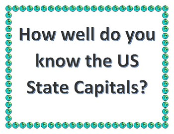US State Capital Map Quiz - How well do you know the US State Capitals?