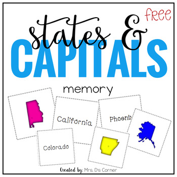 US State Capital Memory Mat... by Mrs Ds Corner | Teachers Pay ...