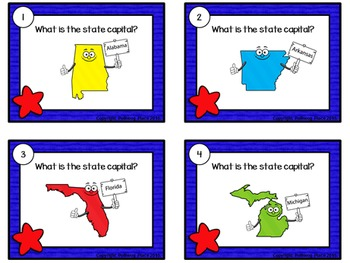 50 State Capitals Task Cards