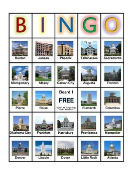 State Capitals Bingo Game