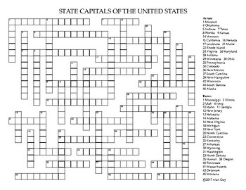 US State Capitals Crossword Puzzle by Alan Day | TpT