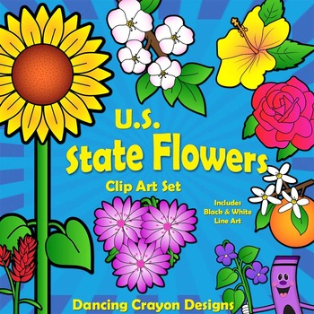 Flowers: US State Flowers Clip Art by Dancing Crayon ...