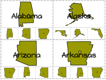 US State Identification Clip Cards- For Work Systems or SpEd.