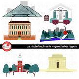 U.S. State Landmarks Great Lakes Region Clipart by Poppydreamz