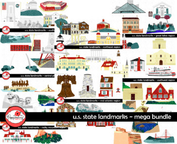 U.S. State Landmarks MEGA BUNDLE Clipart by Poppydreamz