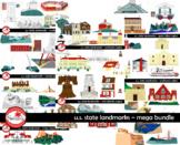 U.S. State Landmarks MEGA BUNDLE Clipart by Poppydreamz