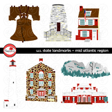 U.S. State Landmarks Mid Atlantic Region Clipart by Poppydreamz