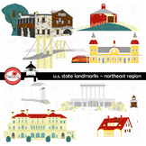 U.S. State Landmarks Northeast Region Clipart by Poppydreamz
